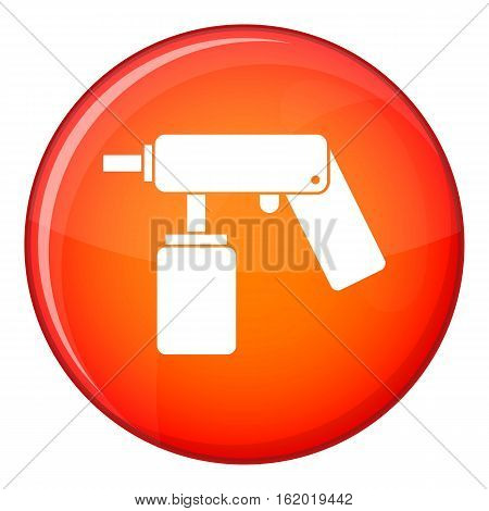Spray aerosol can bottle with a nozzle icon in red circle isolated on white background vector illustration