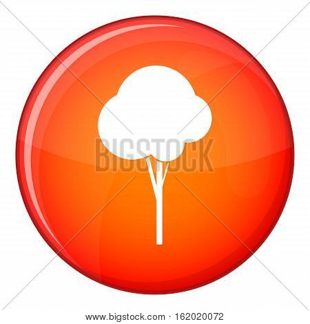 Fluffy tree icon in red circle isolated on white background vector illustration