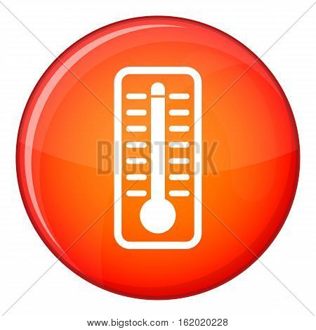 Thermometer indicates extremely high temperature icon in red circle isolated on white background vector illustration