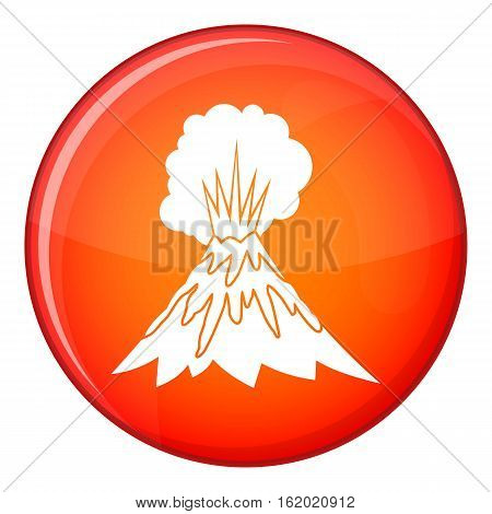 Volcano erupting icon in red circle isolated on white background vector illustration