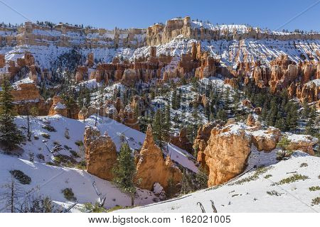 Snow in Bryce Canyon National Park in Southern Utah.