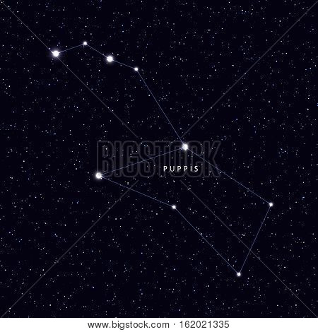 Sky Map with the name of the stars and constellations. Astronomical symbol constellation Puppis