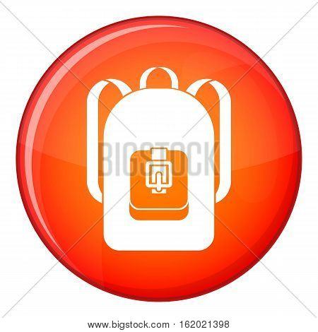 Backpack icon in red circle isolated on white background vector illustration
