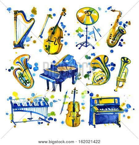 Cute watercolor musical instruments including piano, violin, saxophone and drum, vintage style