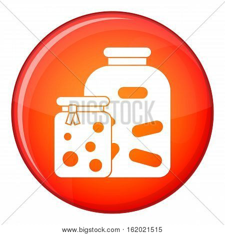 Jars with pickled vegetables and jam icon in red circle isolated on white background vector illustration
