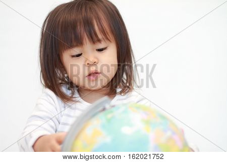 Globe and Japanese girl (2 years old)