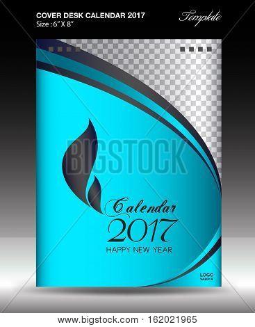Desk calendar 2017 year Size 6x8 inch vertical, Green Cover design, Business brochure flyer template, advertisement