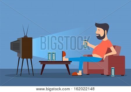 On the image presented ridiculous caricature the man in front of the TV