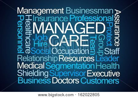 Managed Care Word Cloud on Blue Background