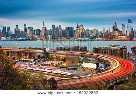 New York City skyline over The Helix Loop.