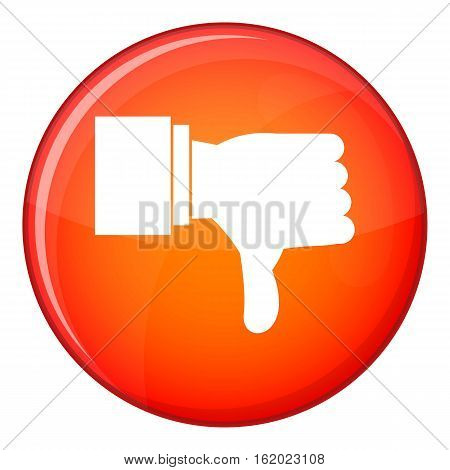 Thumb down gesture icon in red circle isolated on white background vector illustration