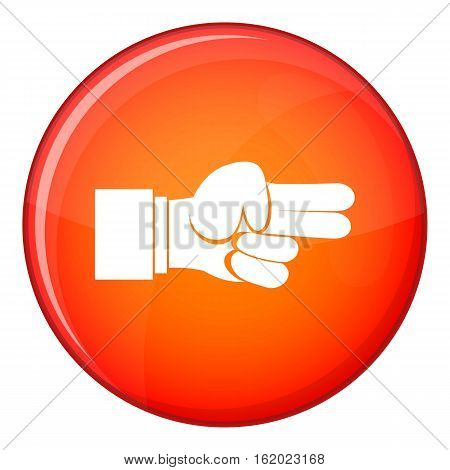 Hand showing two fingers icon in red circle isolated on white background vector illustration