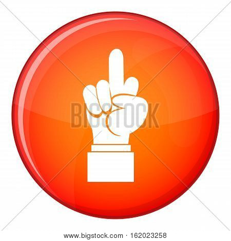Middle finger hand sign icon in red circle isolated on white background vector illustration