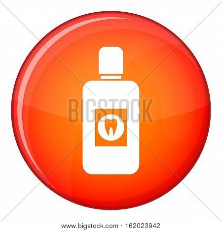 Bottle of green mouthwash icon in red circle isolated on white background vector illustration