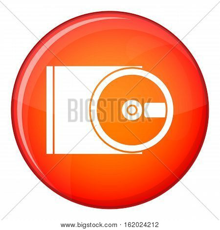 DVD drive open icon in red circle isolated on white background vector illustration