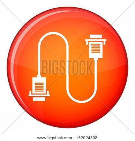 Cable wire computer icon in red circle isolated on white background vector illustration