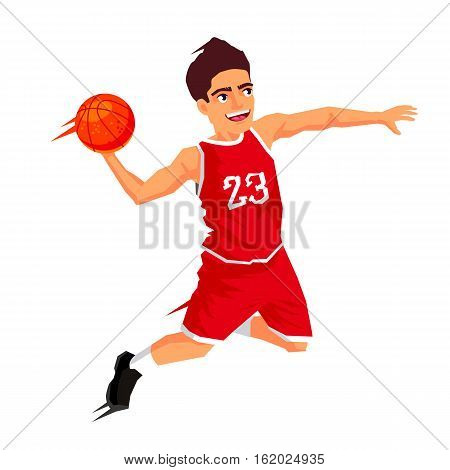 Cool basketball player in red uniform with a ball in a jump. Vector illustration on white background. Sports concept.