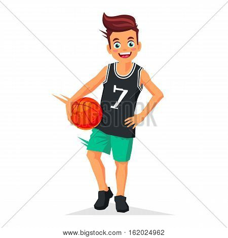 Little kid - basketball player with the ball. Vector illustration on white background. Sports concept.
