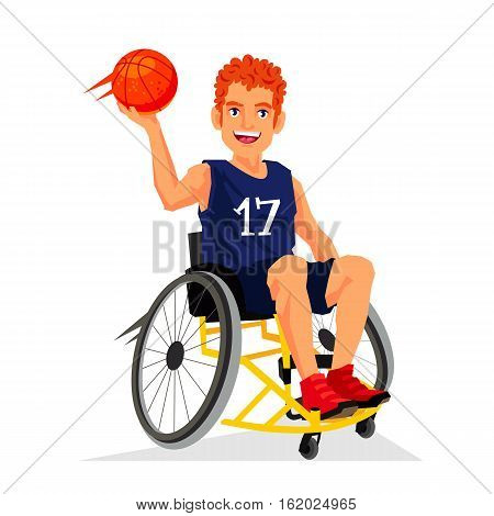 Basketball player with a disability in a wheelchair with a ball in his hand. Vector illustration on white background. Sports concept.