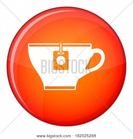 Cup with teabag icon in red circle isolated on white background vector illustration