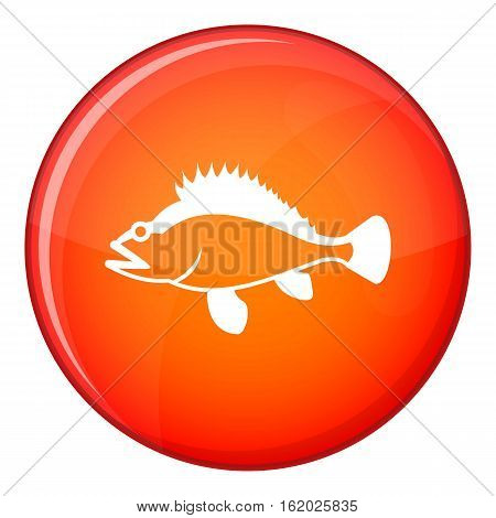 Rose fish, Sebastes norvegicus icon in red circle isolated on white background vector illustration