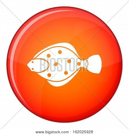 Flounder fish icon in red circle isolated on white background vector illustration