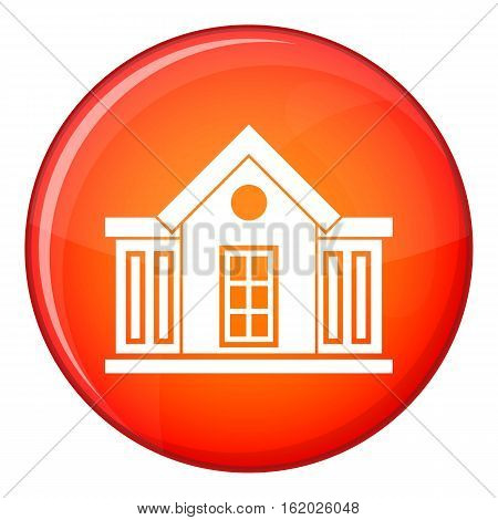 Mansion icon in red circle isolated on white background vector illustration