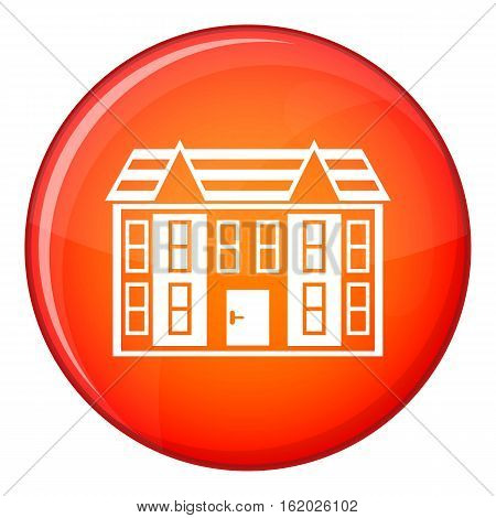 Large two-storey house icon in red circle isolated on white background vector illustration