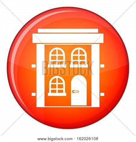Two-storey residential house icon in red circle isolated on white background vector illustration