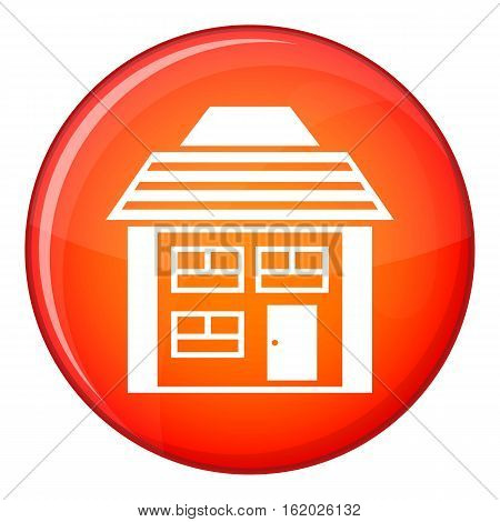 Two-storey house with sloping roof icon in red circle isolated on white background vector illustration