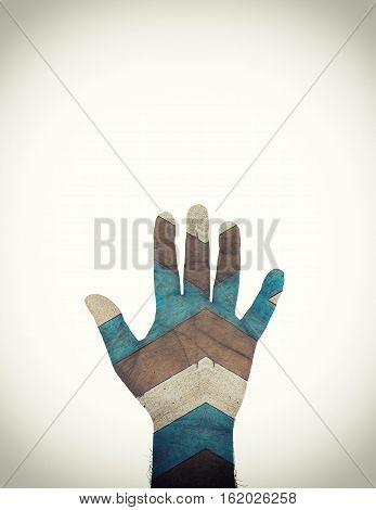 left hand of man with vintage wood texture filter on isolate - can use to display or montage on product