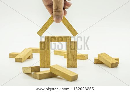 abstract house construction by wood block concept - can use to display or montage on product