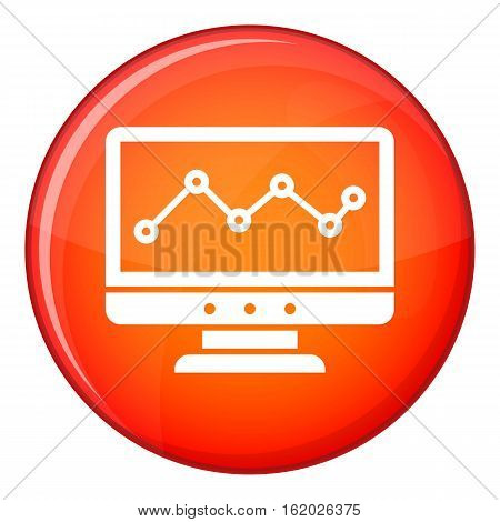 Graph in computer screen icon in red circle isolated on white background vector illustration