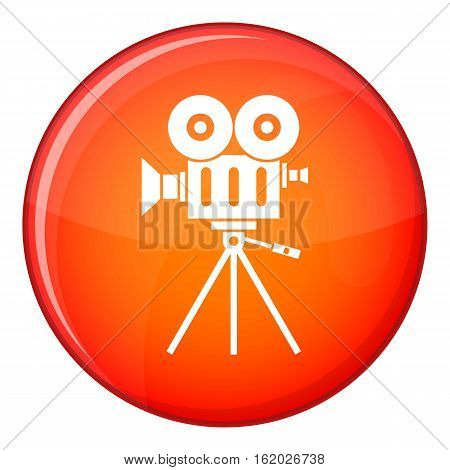 Camcorder icon in red circle isolated on white background vector illustration