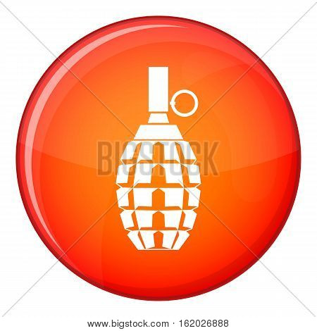 Grenade icon in red circle isolated on white background vector illustration