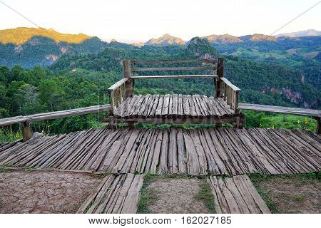 Old wood balcony terrace with mountain view at Baan Ja Bo Mae Hong Son Thailand