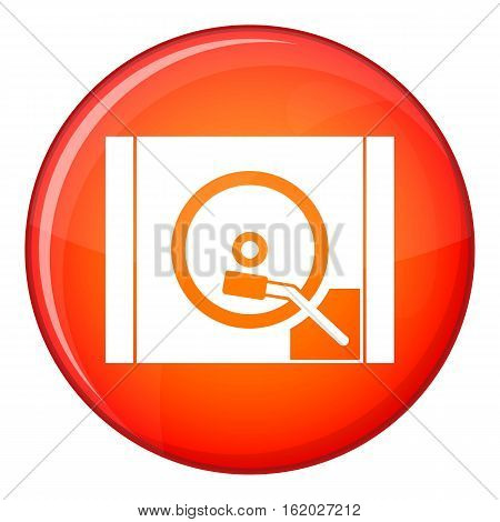 Turntable icon in red circle isolated on white background vector illustration