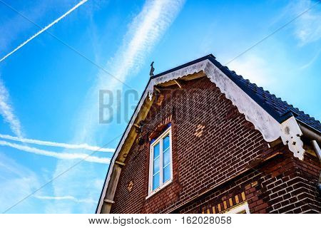 Typical Saddle Roof of a Brick House in the Historic Fishing Village of Bunschoten-Spakenburg in the Netherlands