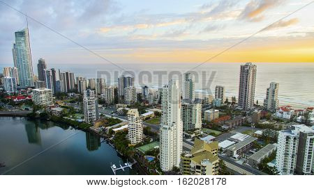 GOLD COAST, AUSTRALIA - DECEMBER 17 2016: Aerial view of sunrise at Surfers Paradise Gold Coast with the Q1 building