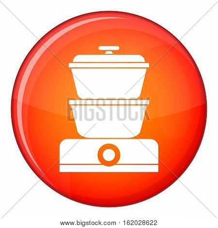 Steamer icon in red circle isolated on white background vector illustration