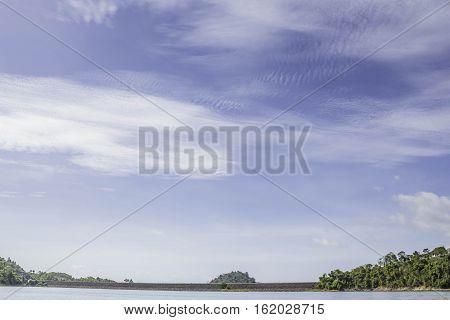 Beautiful cloud and blue sky at chiewlarn dam or ratchaprapa dam Suratthani Thailand.