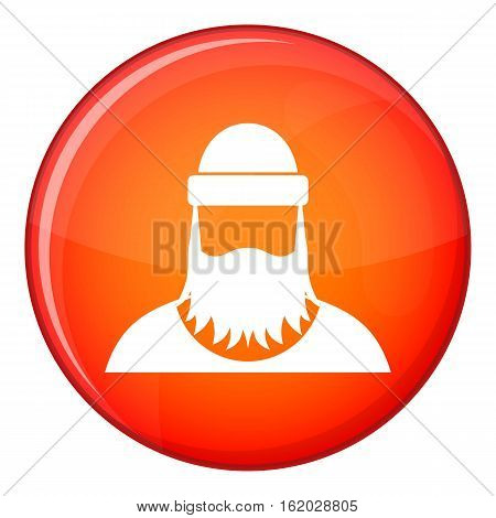 Lumberjack icon in red circle isolated on white background vector illustration