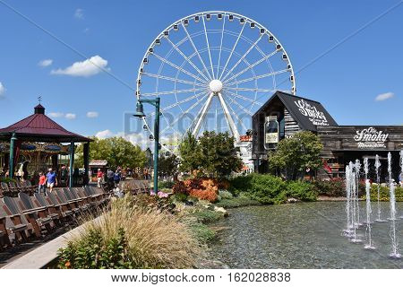 PIGEON FORGE, TN - OCT 3: Great Smoky Mountain Wheel at The Island in Pigeon Forge, Tennessee, as seen on Oct 3, 2016. Making its maiden turn on June 21, 2013, it towers at 200 feet.