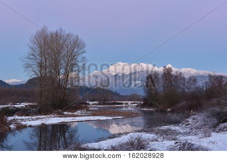 Pitt River And Golden Ears Mountain Aftuer Sunset