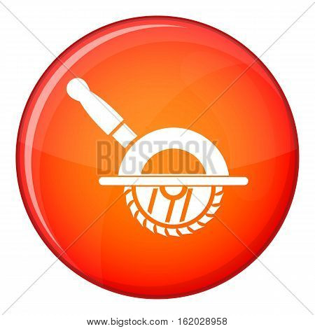 Circular saw icon in red circle isolated on white background vector illustration