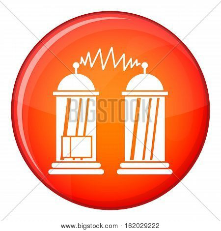 Electrical impulses icon in red circle isolated on white background vector illustration