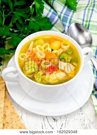 Soup Minestrone In White Bowl On Board