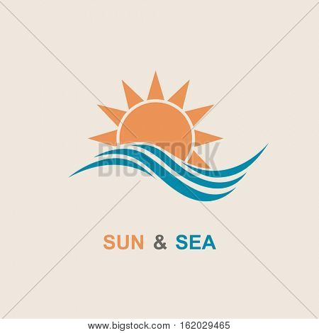 Abstract design of sun and sea icon. Vector illustration