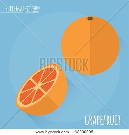 Grapefruit. Long shadow flat design vector icon.