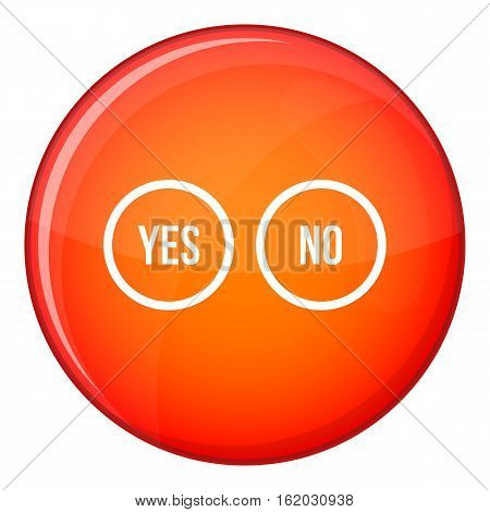 Selection buttons yes and no icon in red circle isolated on white background vector illustration